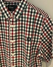 """**Fred Perry: Japan Fit Gingham Short Sleeve Shirt  (S - 36"""")"""