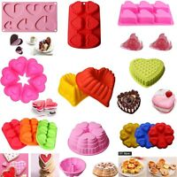 Heart Silicone Cake Chocolate Mould DIY Muffin Candy Jelly Bakeware Baking Tool