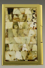 Genuine White BALTIC AMBER Mosaic Credit/Business Card CASE Holder 181003-38