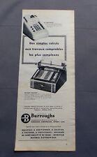 PUB PUBLICITE ANCIENNE ADVERT CLIPPING 23617 MACHINE A CALCULER BURROUGHS SIMPLE