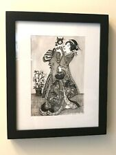 "Original Drawing from Japan Art. Ink & nib. ""Woman with cat''."