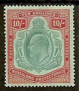 NYASALAND 1908 KEVII 10/- SG80 MINT