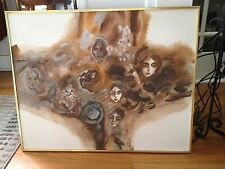 "Vintage Abstract Faces Mid Century Oil Painting Framed 30.25"" x 24"" Wall Art"