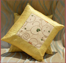 Yellow silk embroidered hand made brocade pillow cover from Craft Options India!