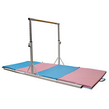 Horizontal Bar Adjustable Gymnastics Training Sports Equipment W/Gym Mat White