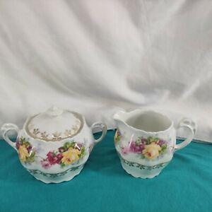 Vintage Bavaria  Rose Sugar Bowl and Creamer