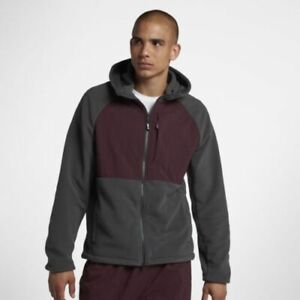 Nike SB Winterized Polartec Full Zip Hoodie Jacket- Grey and Burgandy Men's L