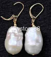 White Baroque 20mm Reborn Keshi Pearl Dangle Earring 14k gold