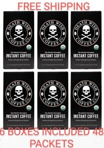 DEATH WISH INSTANT COFFEE, SIX BOXES 48 PACKETS INCLUDED