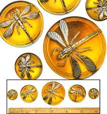 18-42mm Czech Glass ORANGE DRAGONFLY Mother/Daughter SHANKLESS Buttons 5p 3SIZES