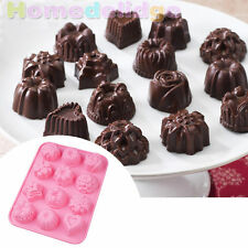 12 Cavity Silicone Candy  Ice Cube Chocolate Cake Cookie Cupcake Soap Mold Mould