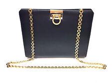 FERRAGAMO Navy Leather Gold Gancini Closure Chain Link Strap Shoulder/Clutch Bag