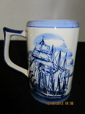 """Delft Blue"", Hand Painted, Tall Ship Tankard"