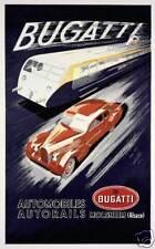 Bugatti automobile autorail train engine motor race art poster print SKU2295