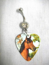 NEW EQUESTRIAN PONY HORSE COLT PRINTED GUITAR PICK CLEAR CZ BELLY BAR NAVEL RING