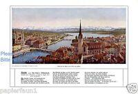 Zürich Alpen XL Kunstdruck von 1909 Schweiz Züricher See St. Peter Berge Gedicht