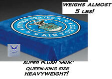 Genuine Us Air Force Seal Usa Queen-King Bed Blanket Heavyweight Mink Plush Usaf
