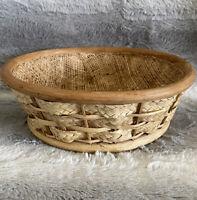 VINTAGE Handmade Woven Basket W/ Woven Mesh Lining Wood Raffia Rattan Wicker