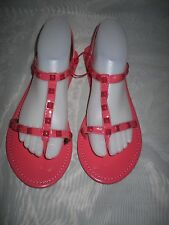 WOMENS BLACK/CORAL SYNTHETIC FLAT ANKLE STRAP SUMMER SANDALS MIX SIZES
