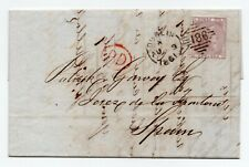More details for 1861 letter sheet to spain with sg 70 - 6d lilac irish dublin 186 duplex pmk.