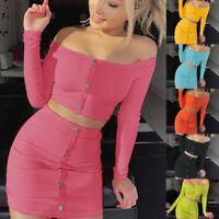 Fashion Women's Crop Tops Bodycon Skirt Two Piece Set Party Holiday Mini Dress