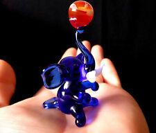 "MURANO ITALY STYLE 2.25"" blue ART GLASS figurine LUCKY ELEPHANT ornament figure"