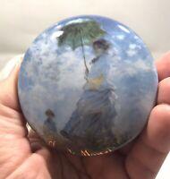 Vintage Goebel Claude Monet Lady With Parasol Trinket Pill Box Porcelain Germany