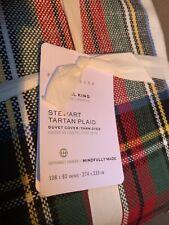 POTTERY BARN Stewart Tartan Plaid King / Cal King Duvet & 2  Shams - NEW
