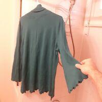Isaac Mizrahi Live! women's long sleeve turtle neck shirt, size 2X, green color