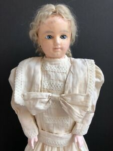 """Antique 24"""" Wax Over Composition Child Girl Doll All Original"""