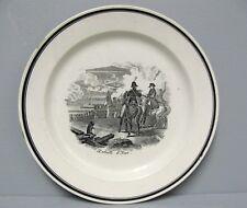 Assiette: Bataille d'Iéna. Napoléon 1er. Faïence Sarreguemines 19e.