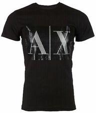 Armani Exchange Mens S/S T-Shirt BOX LOGO Designer BLACK Casual S-2XL $45 NWT