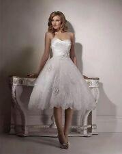 UK Sexy White/Ivory Tea Length Wedding Dress Bridal Gown Size 6-18