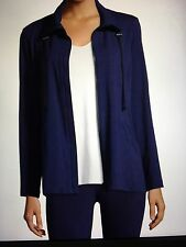 NWT L 14/16 Eileen Fisher Navy Blue High Collar Stretch Jersey Jacket $158+
