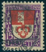 SCHWEIZ 1919, MiNr. 151 I, guter Plattenfehler, sauber gestempelt, Mi. 220,-