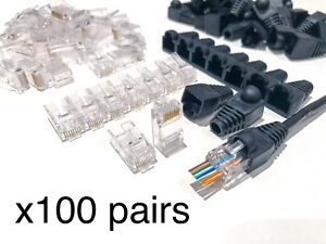 100 x SVR-Tech Tool Gold Plated EZ RJ45 Cat5 5E Pass Through Connectors & Cover
