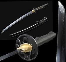 Handmade Japanese Samurai Short Sword Katana Wakizashi  Clay Tempered T10 Steel