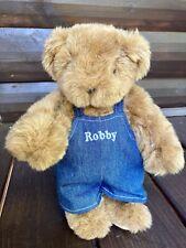 Original Vermont Teddy Bear Co. Blue Jean Overalls Robby Tan Fur Toy Bear