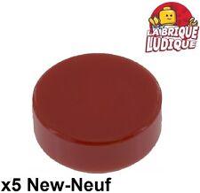 Lego - 5x Tile Round plaque rond lisse 1x1 rouge foncé/dark red 98138 NEUF