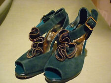 USED FIORE COLLECTION DARK TURQUOISE WITH GOLD ZIPPER TRIM SHOES SIZE 4 37