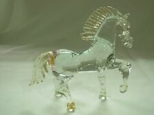 SIGNED LUCIANO MOSI GOLD FLECK MURANO VENETIAN ART GLASS PRANCING HORSE FIGURINE