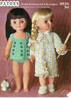 Original 1960s Vintage Knitting pattern-Dolls clothes baby doll set Patons 9920