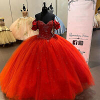 Red Quinceanera Dresses Sweetheart Off Shoulder Sequins Sweet 16 Party Ball Gown