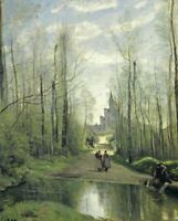 The Church at Marissel Camille Corot Wall Art Painting Print on CANVAS Giclee SM
