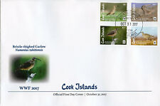 Cook Islands 2017 FDC Bristle-thighed Curlew WWF 4v Cover Curlews Birds Stamps