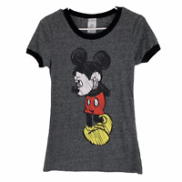 Disney Ladies Shy Mickey Mouse Junior Fit Linen Blend Ringer T-Shirt Medium