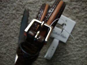 Calvin Klein Women's Belt XLarge Browns Snack Beige Stripe Silver Buckler  NWT