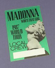 Madonna Original Backstage Crew Pass - Who's That Girl Tour 1987 - Unused !