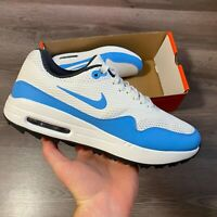 NIKE AIR MAX 1 G WHITE BLUE GOLF TRAINERS SHOES SIZE UK7.5 US8.5 EUR42