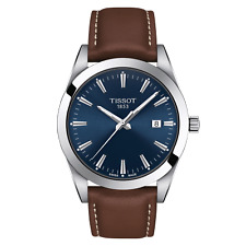 New Tissot Gentleman Blue Dial Leather Band Men's Watch T127.410.16.041.00